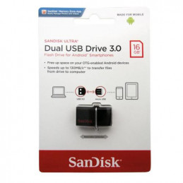 USB 3.0 Flash Disk SanDisk Ultra Dual SDDD2 OTG 16GB Μαύρο